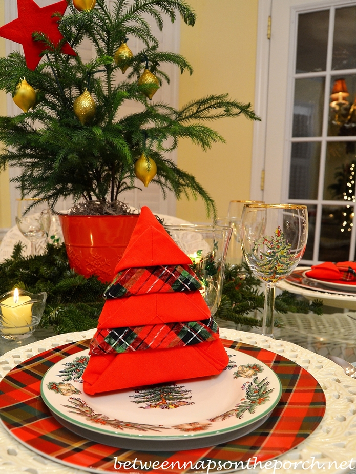 Christmas Tree Napkin Fold for a Christmas Table Setting