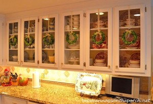 Decorate Glass Cabinet Fronts with Boxwood Wreaths