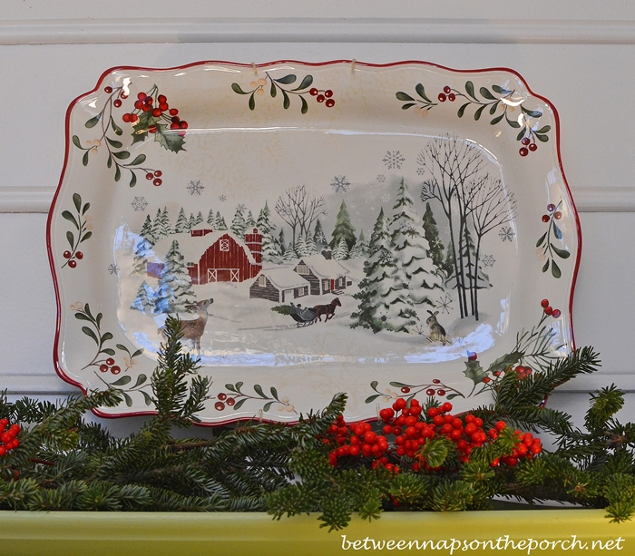 Decorate with Platters and Garland for Christmas