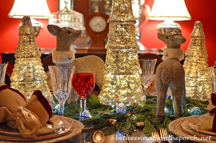 Glitter Deer and Mercury Glass Tree Centerpiece