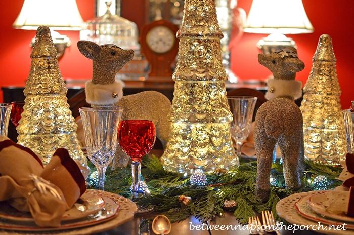 Glitter Deer and Mercury Glass Tree Centerpiece