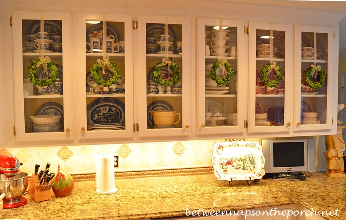 Hang Wreaths on Glass Door Kitchen Cabinets