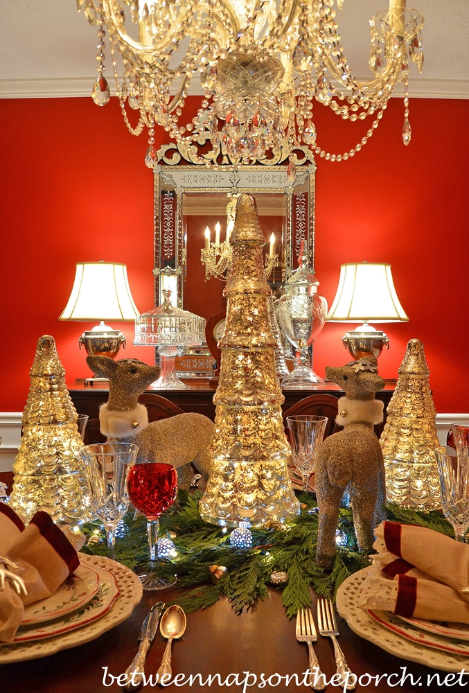 Christmas Table Setting Tablescape with Mercury Glass Trees, Cedar ...