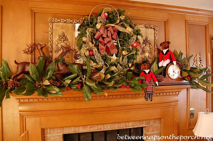 Hunt Themed Mantel with Magnolia