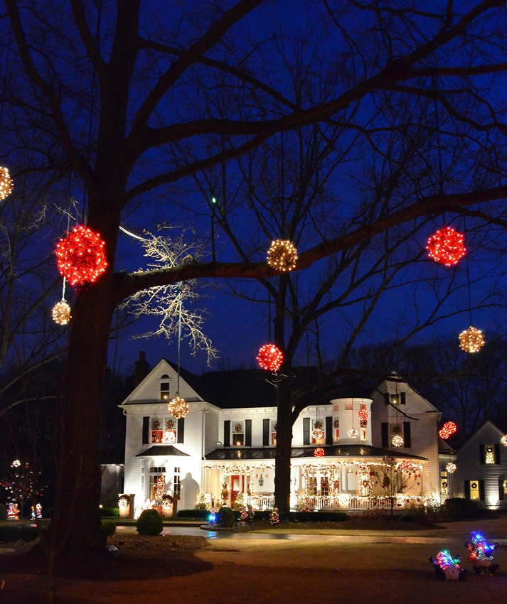 Lit Spheres in Trees for Christmas