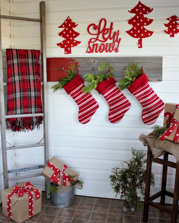 Mud Room Decorated for Christmas