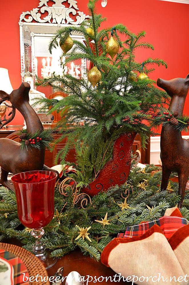 Norfolk Pine for a Christmas Tablescape Centerpiece