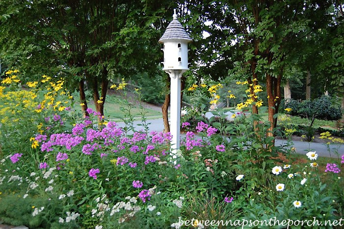 Perennial Garden with Dovecote Bird House