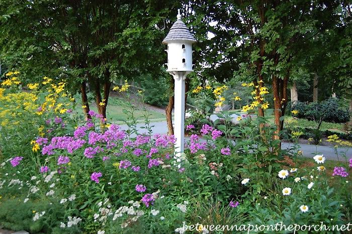 Perennial Garden with Dovecote Bird House