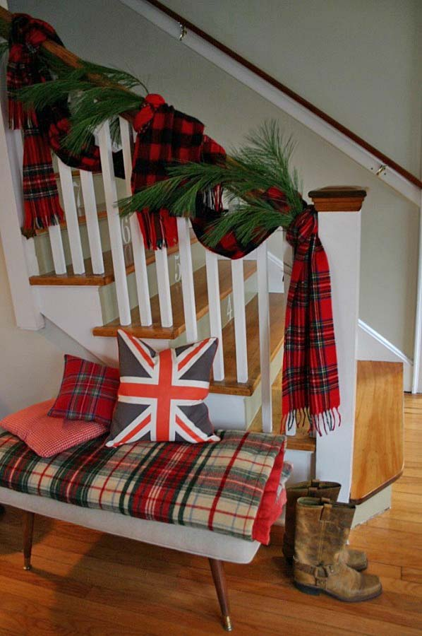 plaid banister for christmas - Decorating Banisters For Christmas With Ribbon
