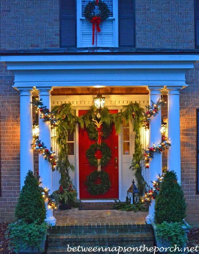 Porch Decorated for Christmas with Pottery Barn Inspired Garland and Boxwood Wreaths_wm
