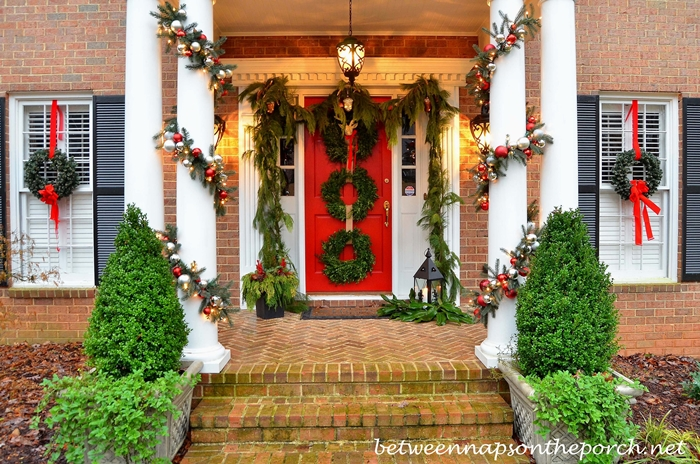Porch Decorated with Pottery Barn Inspired Garland_wm