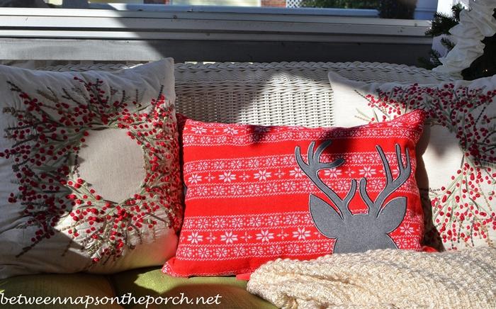 Reindeer Pillow, Wreath Pillows