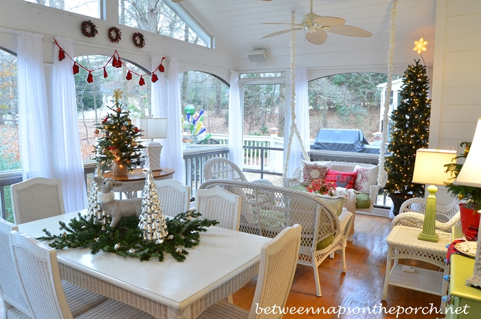 Screened Porch Decorated for Christmas