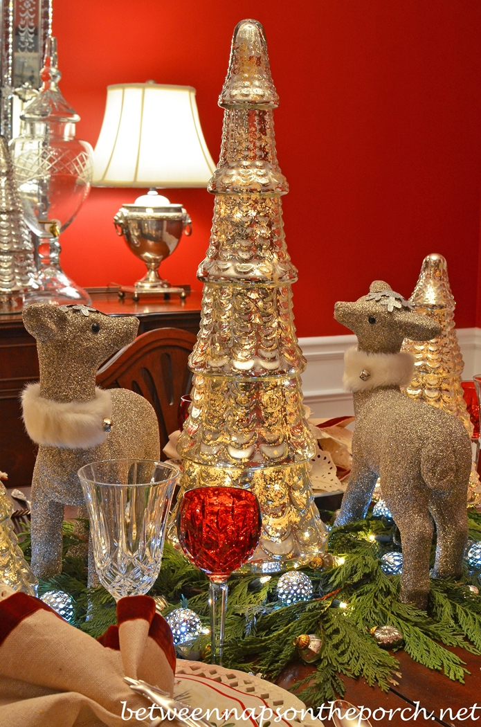 Silver Reindeer Table Centerpiece