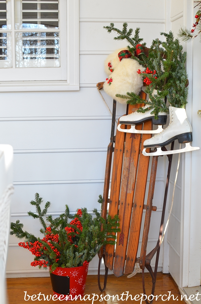 Sled and Ice Skates for a Christmas Porch