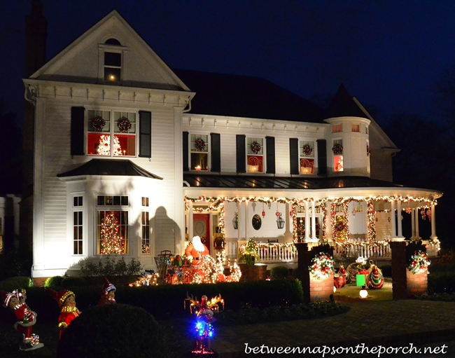 Victorian Home Decorated with Lights at Christmastime