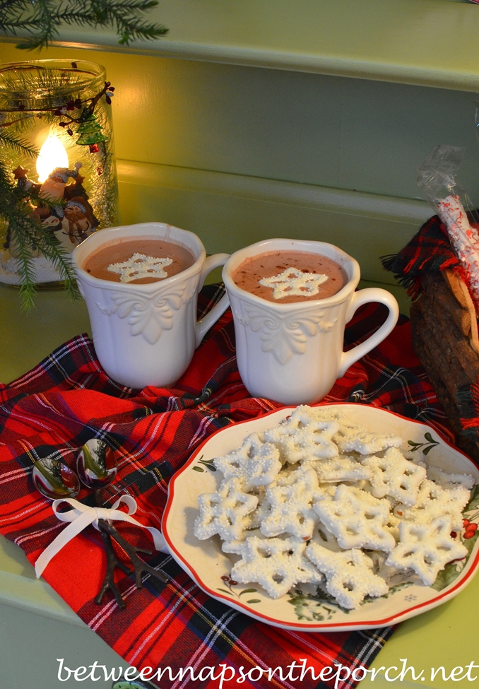 White Chocolate Pretzels and Hot Chocolate
