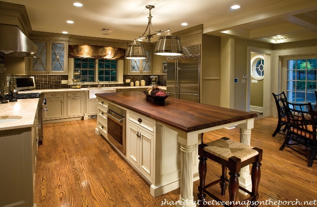 Beautiful Kitchen with Painted Cabinets and Dark Wood Top Island
