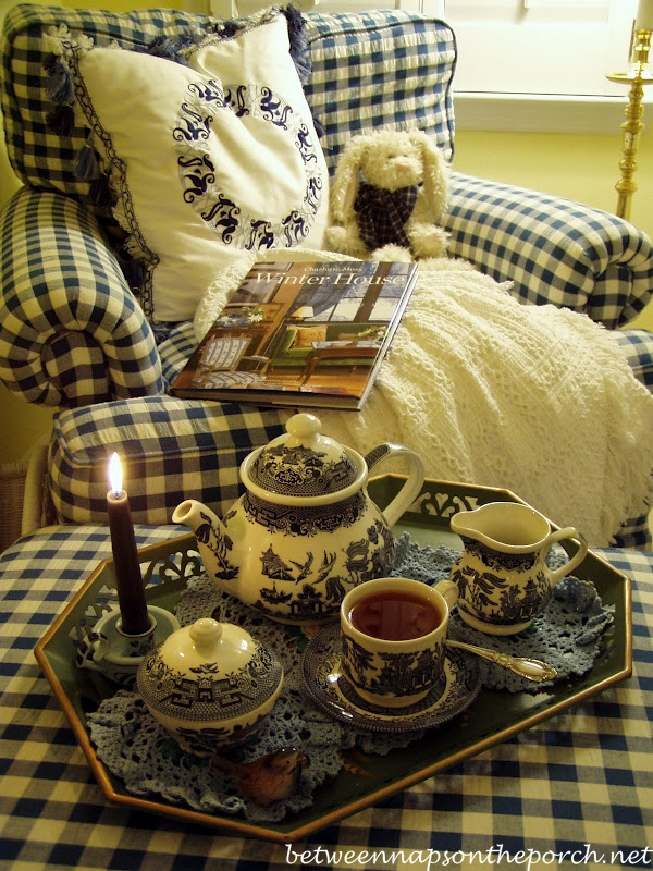 Blue and White Check Chair, Blue Willow Tea Set