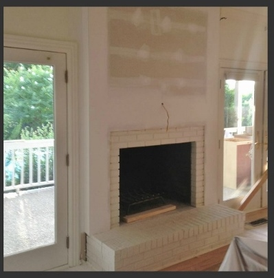 Brick Fireplace Makover Redesign