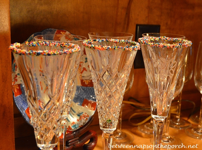 Champagne Glasses with Nonpareils
