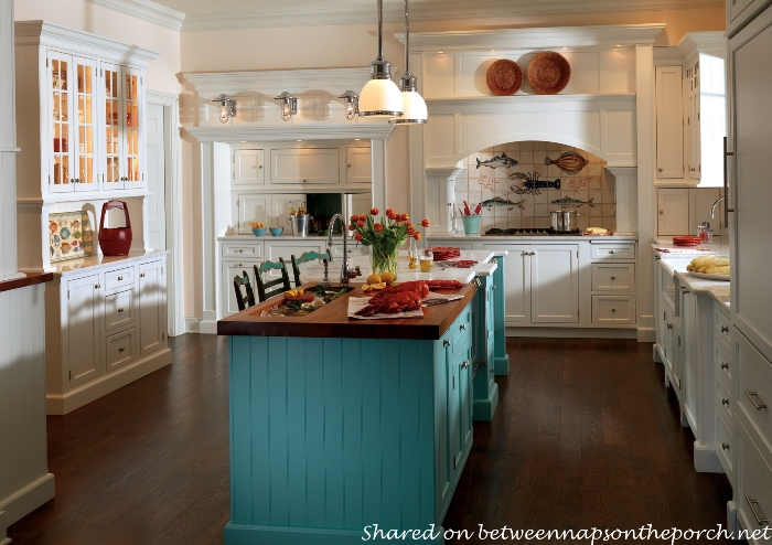 Cottage Beach Kitchen with Aqua Turquoise Island
