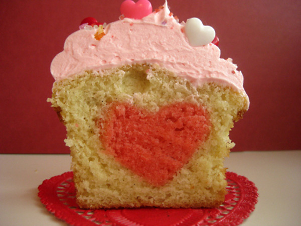 Cupcake with Surprise Heart Inside