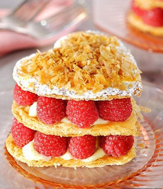 Heart-Shaped Raspberry Napoleons