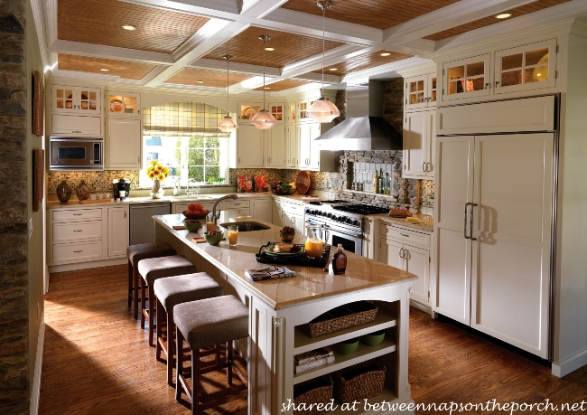 Kitchen with Cove Ceiling, Paneled Refrigerator and Painted Cabinets
