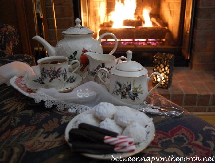Lenox, Winter Greetings with Hot Tea and Chocolate-Covered Peppermint Sticks in Front of a Cozy Fire