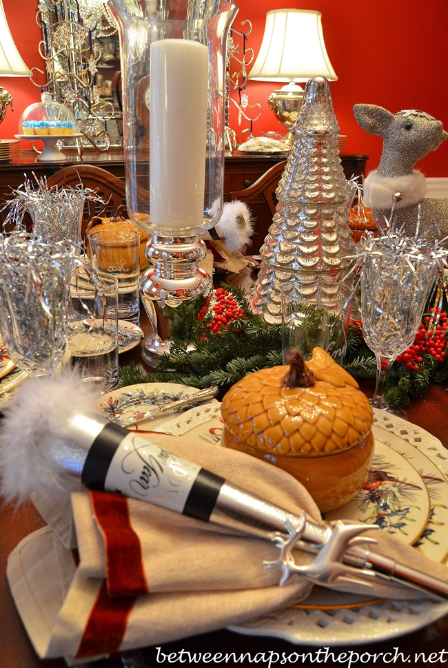 New Year S Dinner Party Table Setting Tablescape With A