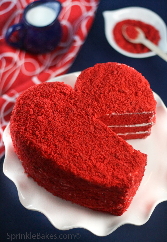 Red Heart Cake with Crumb Coating