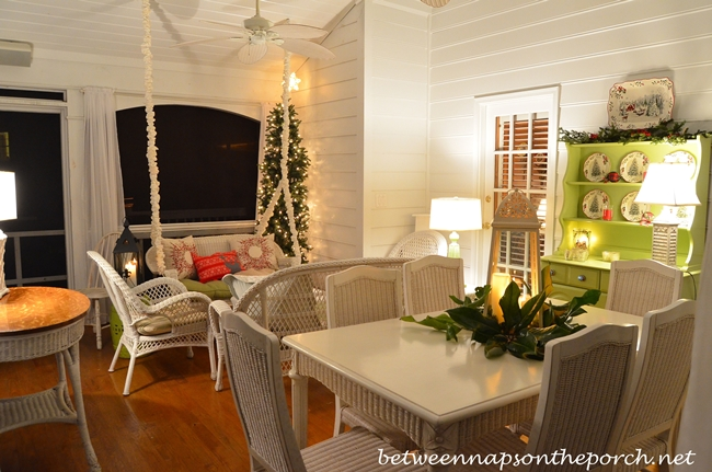 Screened Porch at Night Decorated for Party