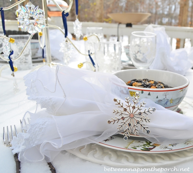 Snow Themed Table Setting with Snowflake Napkin Rings