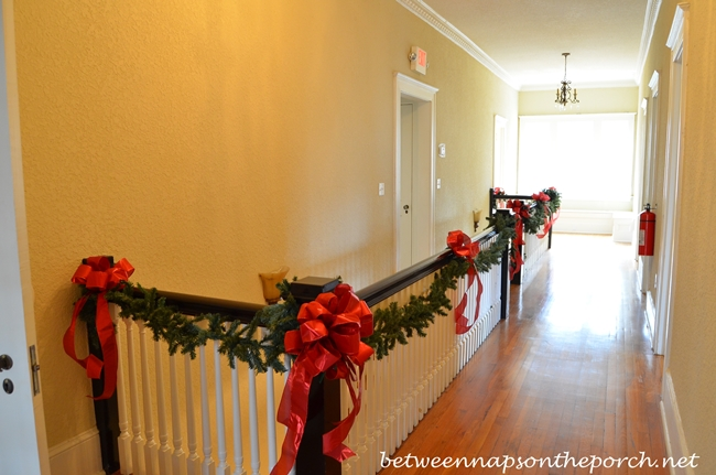 Staircase Decorated for Christmas 2