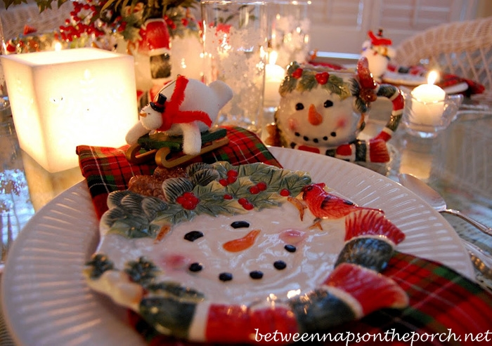 Winter Table Setting with Snowman Theme