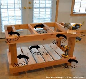 Build a Potting Bench Table, Pottery Barn Abbott Inspired