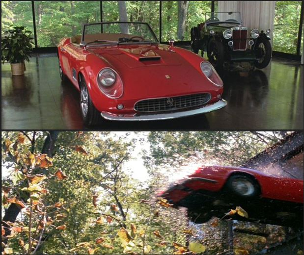 Car Driving Out Glass Garage in Ferris Bueller's Day Off