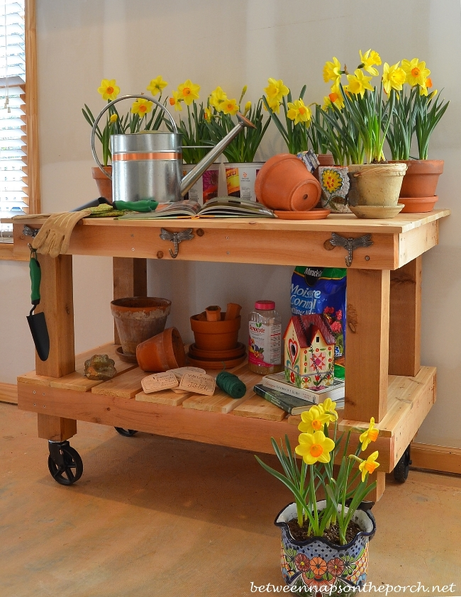 Build a potting bench or garden buffet table pottery barn for Pottery barn bench plans