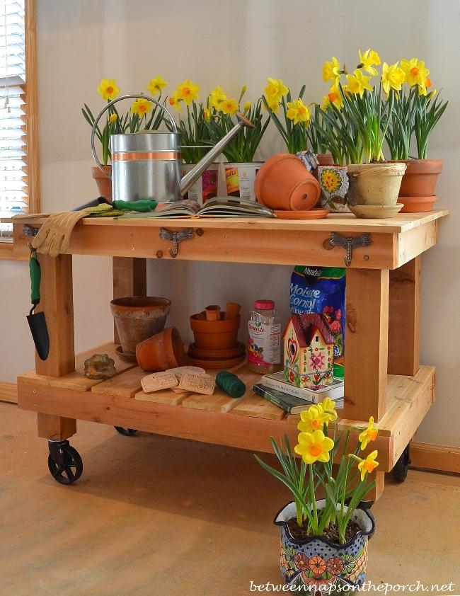 DIY Potting Bench, Pottery Barn Abbott Inspired