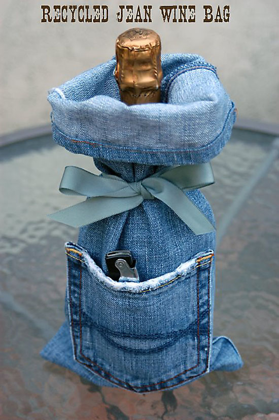 Denim Wine Gift Bag Made From Recycled Jeans