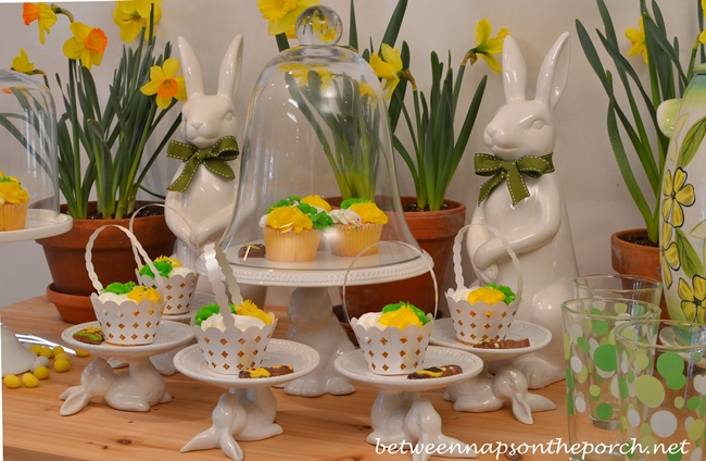 Easter Table Setting with Bunnies and Daffodils_wm