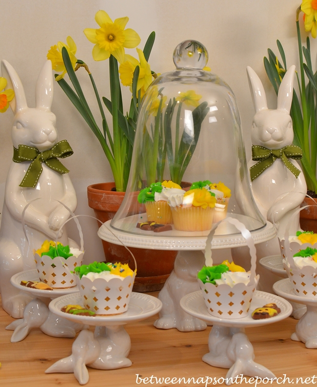 Easter Tablescape with Bunny Cupcake Pedestal lates