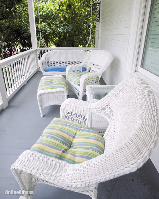 Porch with White Wicker Furniture