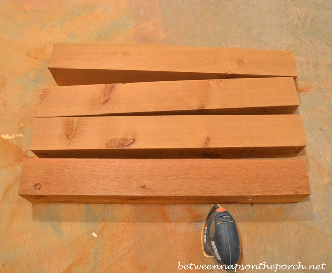 Sanding Cedar for Potting Bench