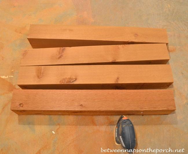 Sanding Cedar for Potting Bench