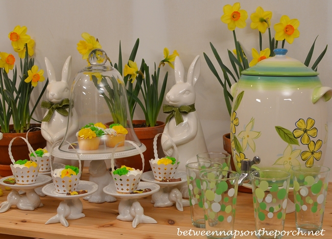 Spring Easter Dessert Buffet with Cupcakes