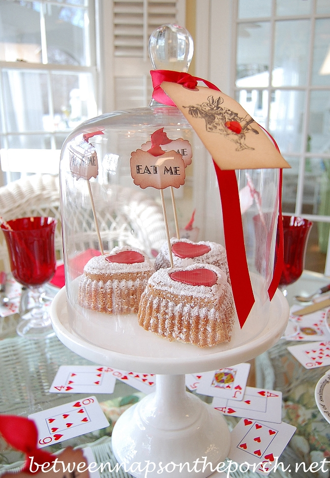 Valentine's Day Table Setting with Alice in Wonderland Queen of Hearts Theme