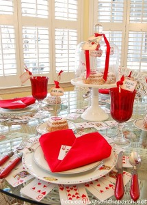 Valentine's Day Table Setting with Heart Napkin Fold